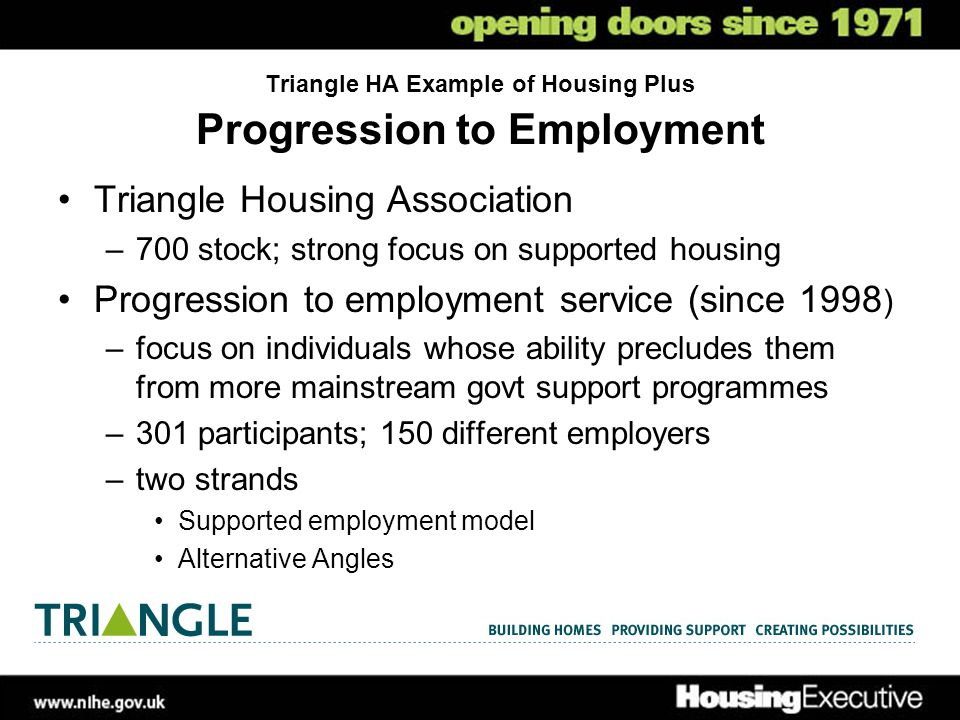 Triangle HA Example of Housing Plus Progression to Employment Triangle Housing Association –700 stock; strong focus on supported housing Progression to employment service (since 1998 ) –focus on individuals whose ability precludes them from more mainstream govt support programmes –301 participants; 150 different employers –two strands Supported employment model Alternative Angles
