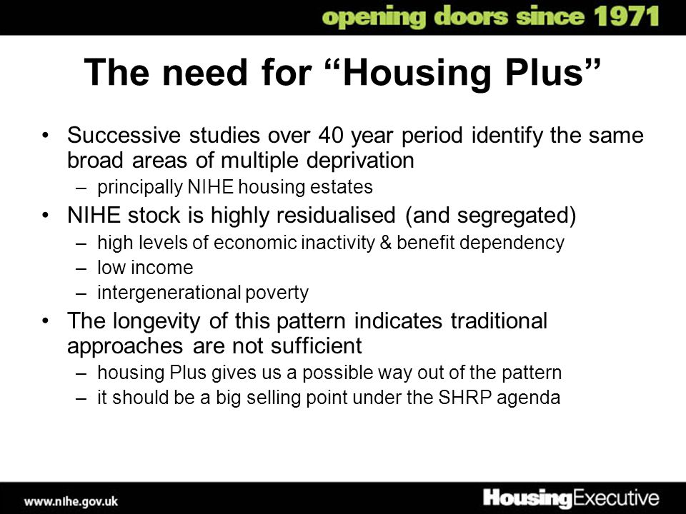 """The need for """"Housing Plus"""" Successive studies over 40 year period identify the same broad areas of multiple deprivation –principally NIHE housing est"""