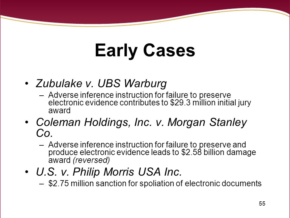 55 Early Cases Zubulake v.