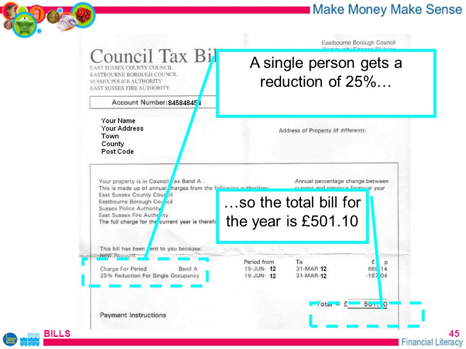 BILLS45 A single person gets a reduction of 25%… …so the total bill for the year is £501.10