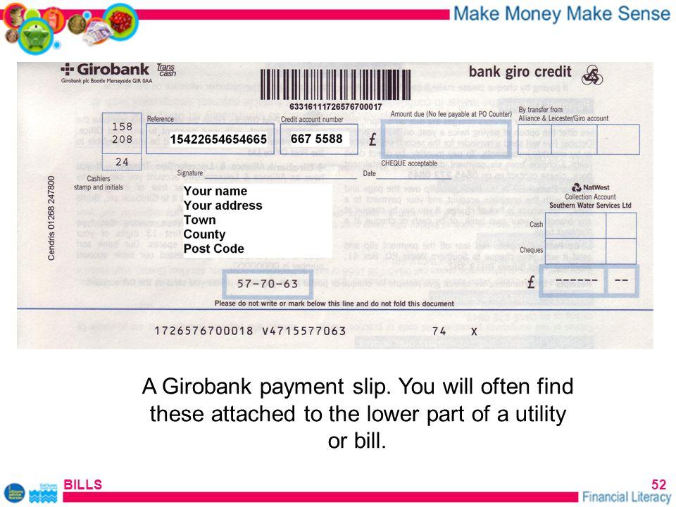 BILLS52 A Girobank payment slip.
