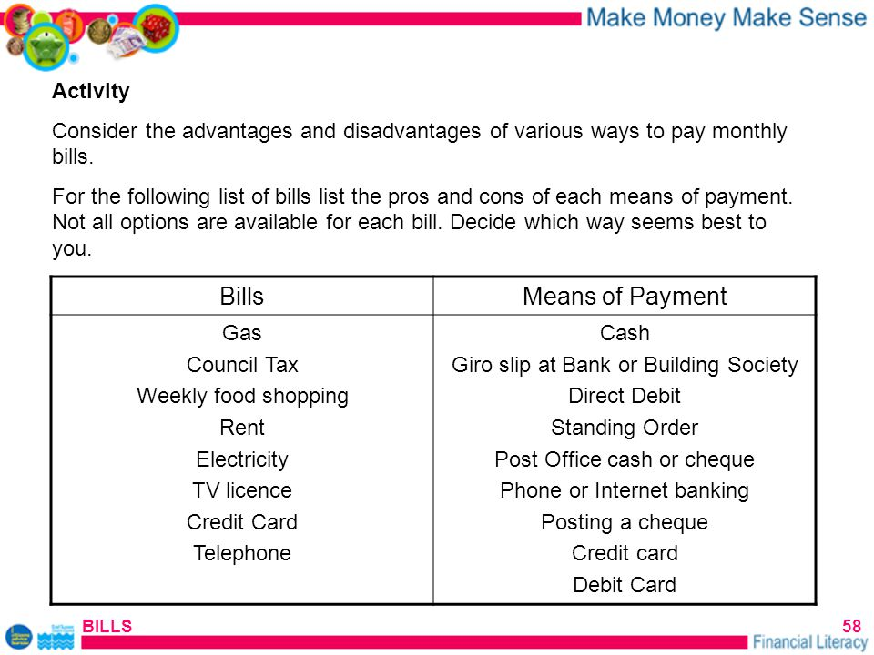 BILLS58 Activity Consider the advantages and disadvantages of various ways to pay monthly bills.