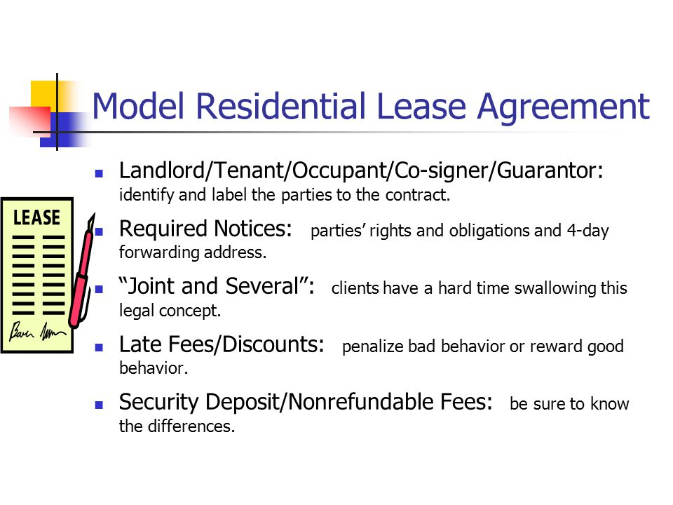 Model Residential Lease Agreement Landlord/Tenant/Occupant/Co-signer/Guarantor: identify and label the parties to the contract.