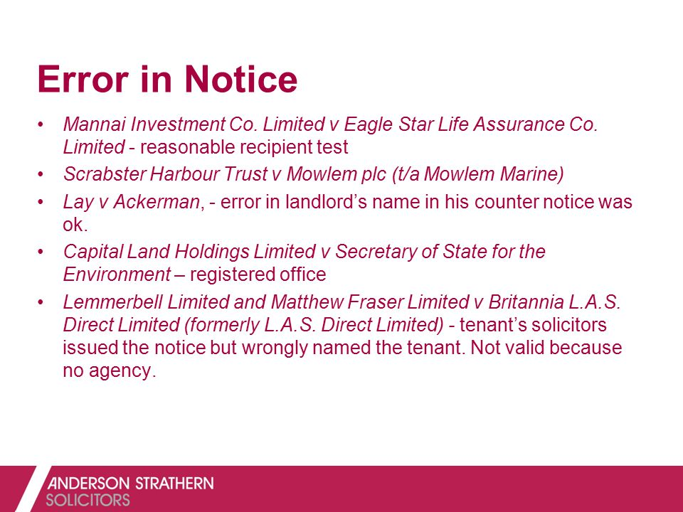 Error in Notice Mannai Investment Co. Limited v Eagle Star Life Assurance Co. Limited - reasonable recipient test Scrabster Harbour Trust v Mowlem plc