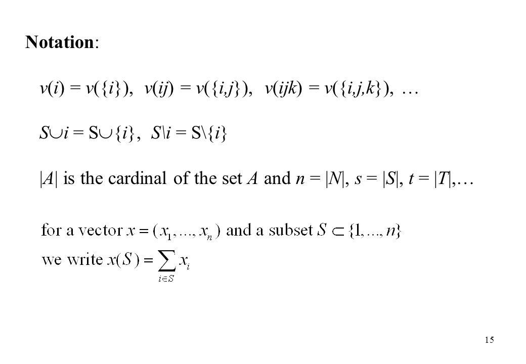 Notation: v(i) = v({i}), v(ij) = v({i,j}), v(ijk) = v({i,j,k}), … S  i = S  {i}, S\i = S\{i} |A| is the cardinal of the set A and n = |N|, s = |S|,
