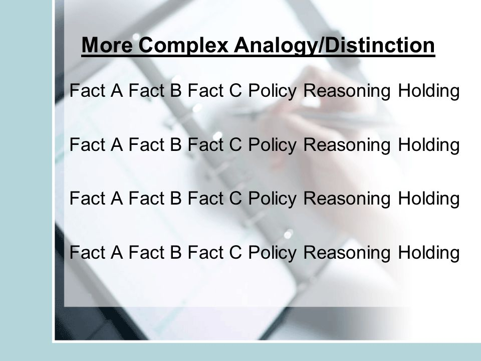 More Complex Analogy/Distinction Fact A Fact B Fact C Policy Reasoning Holding