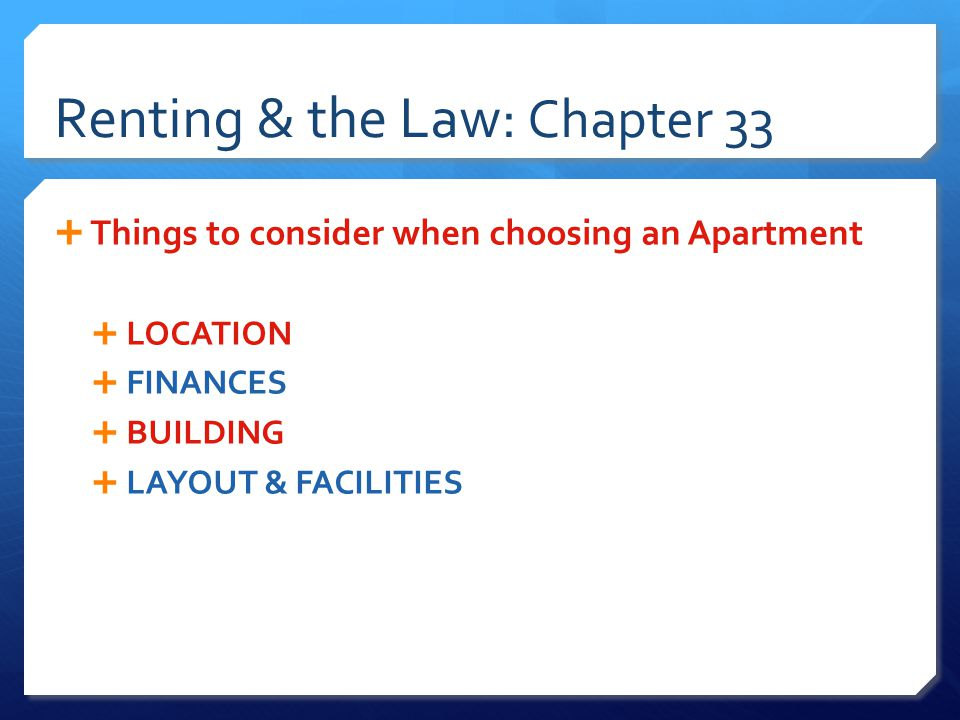Renting & the Law: Chapter 33  DUTIES OF THE LANDLORD  Duties are outlined in the Law and the Lease  Practice non-discriminating leasing  Maintain the premises  Deliver peaceful possession  Civil Rights Act  Protects the 5 protected classes we've studied PLUS the blind or those who may have children in the future  Rental property offered for dwelling purposes must be fit for human habitation.