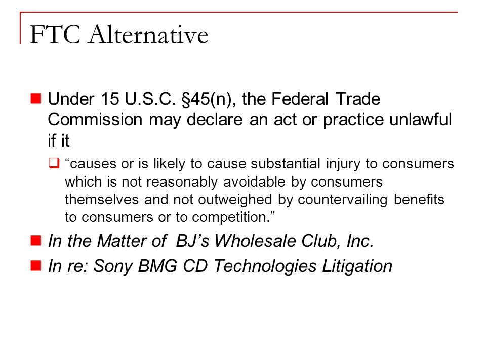 FTC Alternative Under 15 U.S.C.