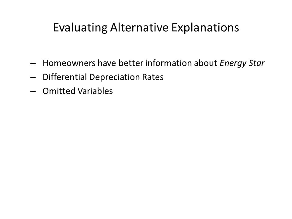 Evaluating Alternative Explanations – Homeowners have better information about Energy Star – Differential Depreciation Rates – Omitted Variables