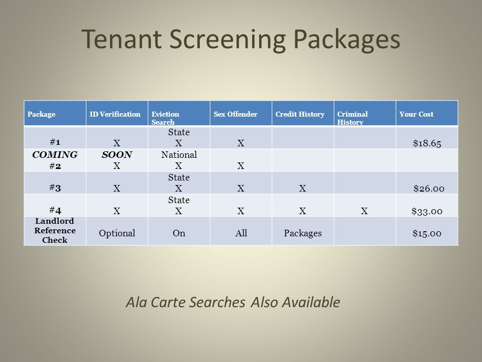 Tenant Screening Packages PackageID VerificationEviction Search Sex OffenderCredit HistoryCriminal History Your Cost #1 X State XX$18.65 COMING #2 SOON X National XX #3 X State XXX $26.00 #4 X State XXXX$33.00 Landlord Reference Check OptionalOnAllPackages$15.00 Ala Carte Searches Also Available