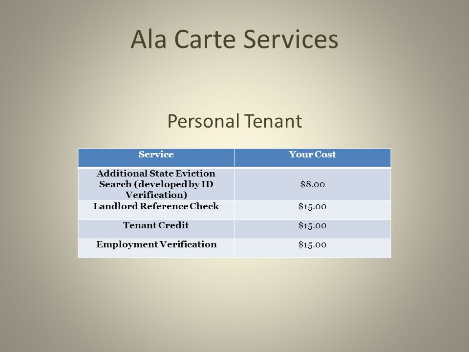 Ala Carte Services Business Tenant ServiceYour Cost Landlord Reference Check$15.00 Comprehensive Report (Includes all Searches Below) $65.00 UCC Filings$12.00 Business Liens & Judgments$12.00 Business Bankruptcies$12.00 Corporate Filings$12.00 Business Registration$12.00 Associated Businesses$12.00 Associated People$12.00 Current/Previous Property Ownership $12.00