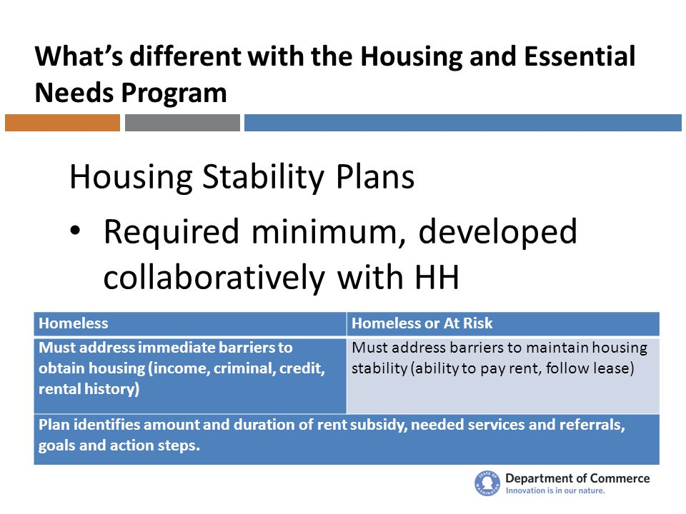 What's different with the Housing and Essential Needs Program Housing Stability Plans Required minimum, developed collaboratively with HH HomelessHomeless or At Risk Must address immediate barriers to obtain housing (income, criminal, credit, rental history) Must address barriers to maintain housing stability (ability to pay rent, follow lease) Plan identifies amount and duration of rent subsidy, needed services and referrals, goals and action steps.