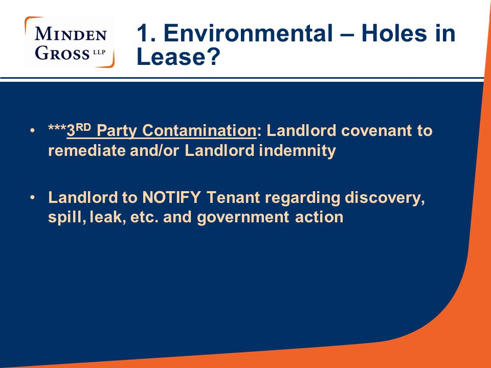 1. Environmental – Holes in Lease.