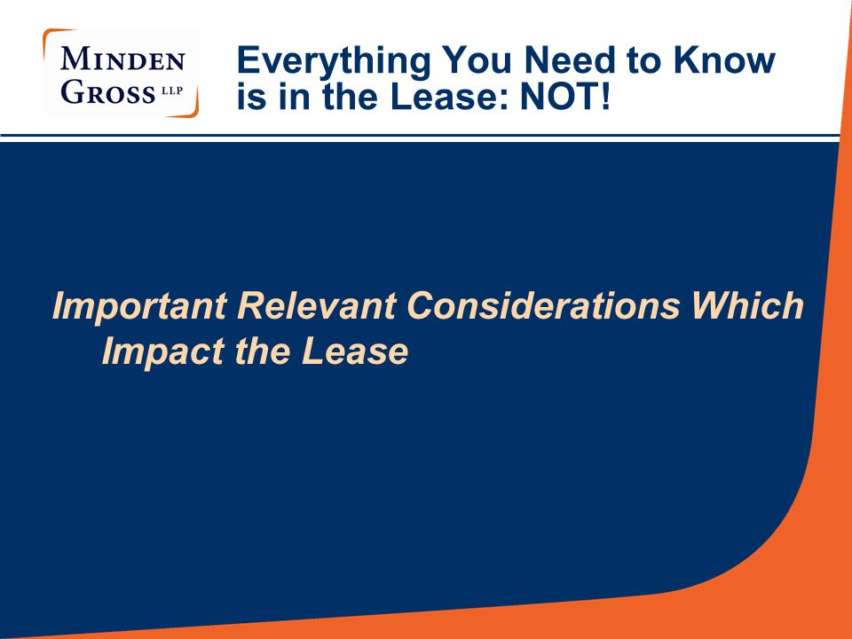 Everything You Need to Know is in the Lease: NOT.