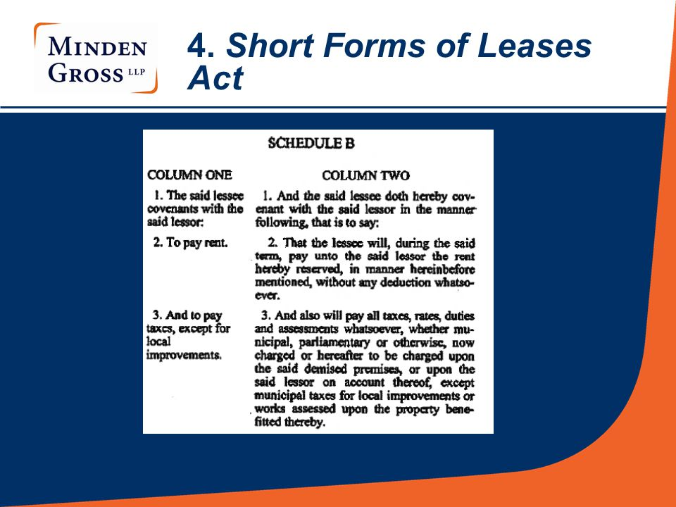 4. Short Forms of Leases Act