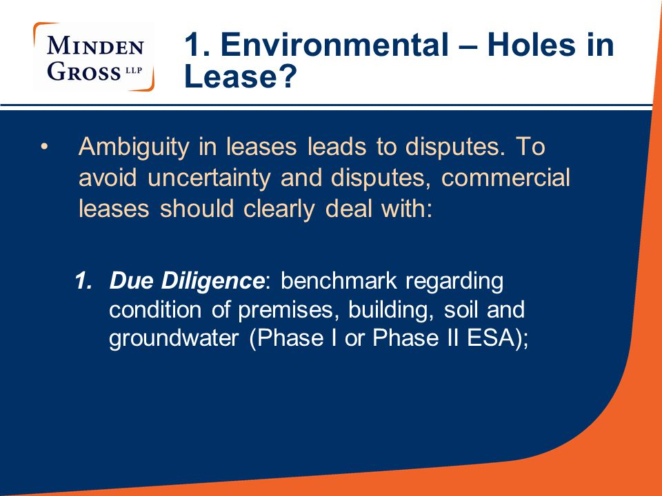 1. Environmental – Holes in Lease. Ambiguity in leases leads to disputes.