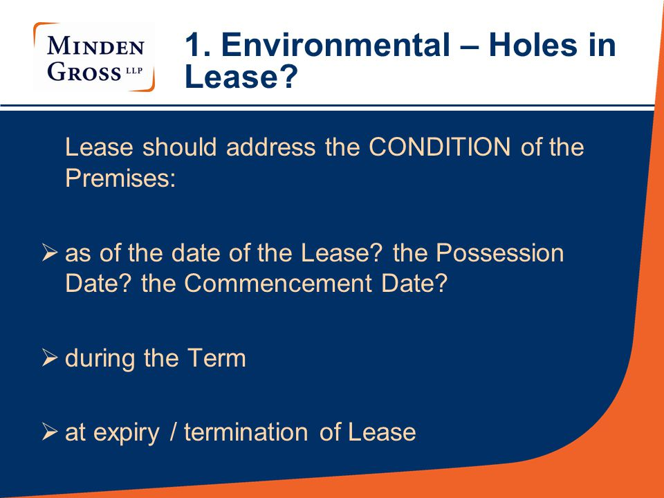 1.Environmental – Holes in Lease.