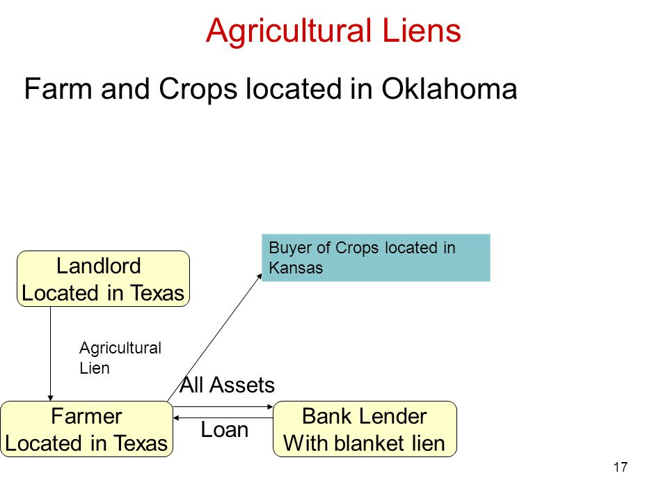 17 Agricultural Liens Bank Lender With blanket lien Farmer Located in Texas All Assets Loan Farm and Crops located in Oklahoma Landlord Located in Texas Agricultural Lien Buyer of Crops located in Kansas
