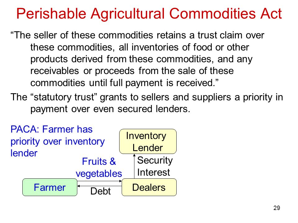 29 Perishable Agricultural Commodities Act The seller of these commodities retains a trust claim over these commodities, all inventories of food or other products derived from these commodities, and any receivables or proceeds from the sale of these commodities until full payment is received. The statutory trust grants to sellers and suppliers a priority in payment over even secured lenders.