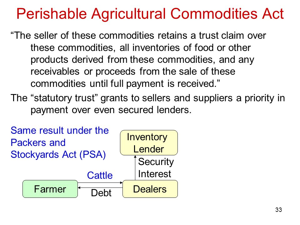 33 Perishable Agricultural Commodities Act The seller of these commodities retains a trust claim over these commodities, all inventories of food or other products derived from these commodities, and any receivables or proceeds from the sale of these commodities until full payment is received. The statutory trust grants to sellers and suppliers a priority in payment over even secured lenders.