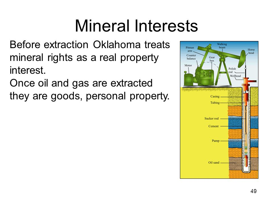 Mineral Interests 49 Before extraction Oklahoma treats mineral rights as a real property interest.
