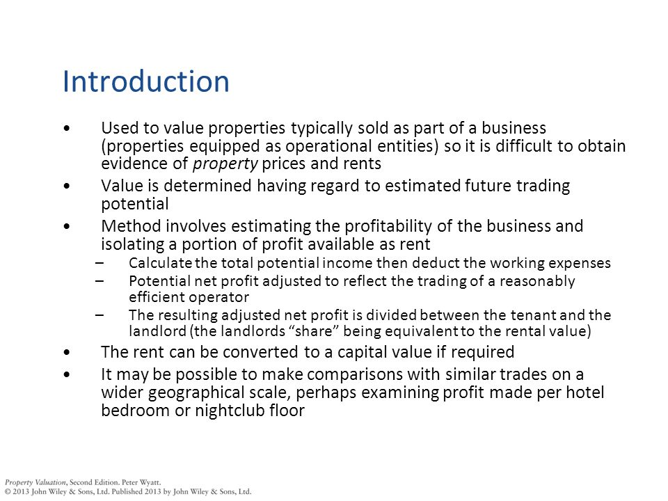 Profits method overview Gross earnings / turnover Less cost of sales (e.g.