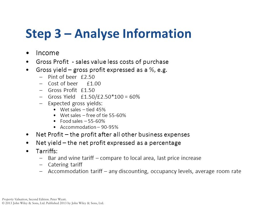 Step 3 – Analyse Information Income Gross Profit - sales value less costs of purchase Gross yield – gross profit expressed as a %, e.g.