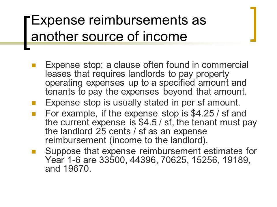 Formula for PGI Base income + CPI adj. + Expected reimbursement = Potential (gross) income (PGI)