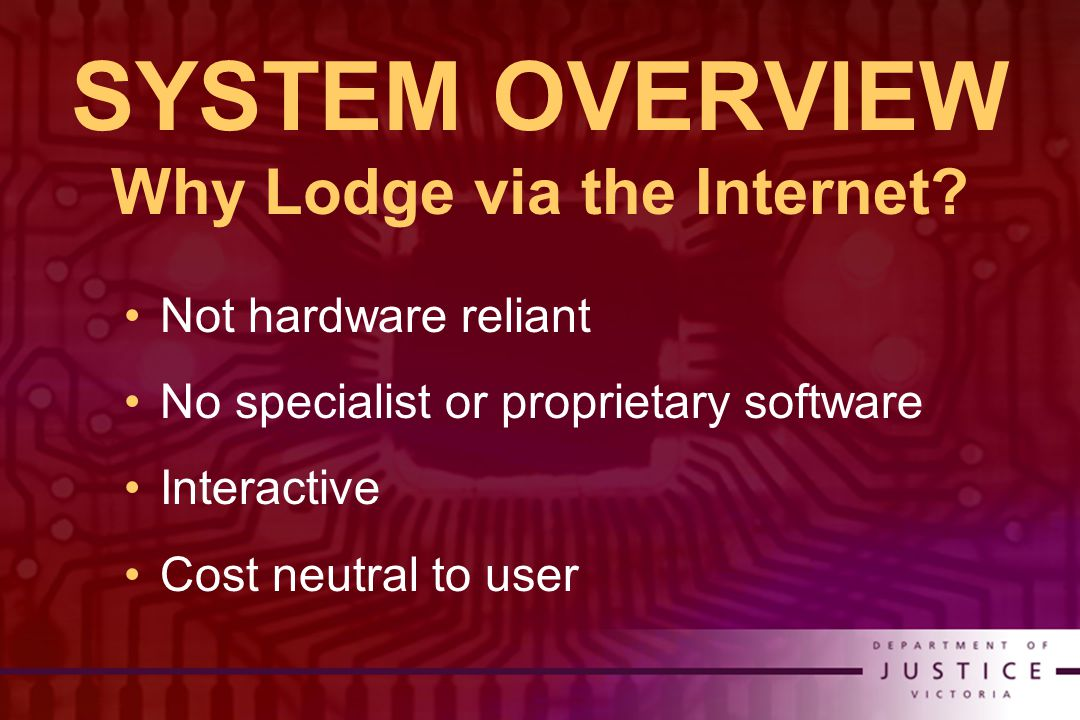 SYSTEM OVERVIEW Why Lodge via the Internet.
