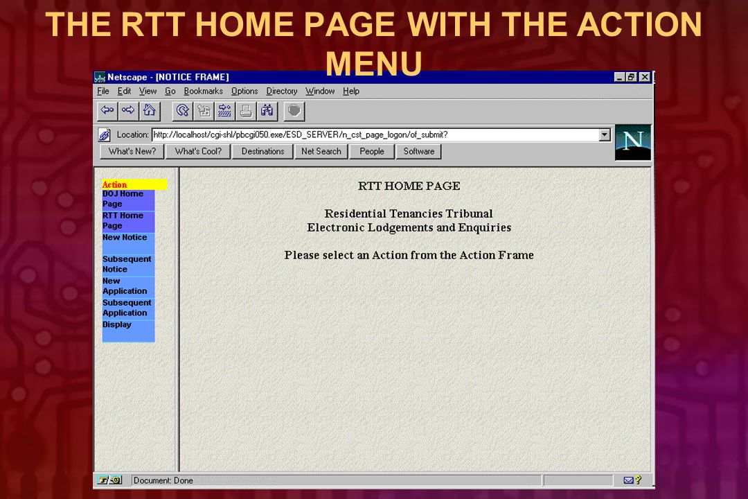 THE RTT HOME PAGE WITH THE ACTION MENU