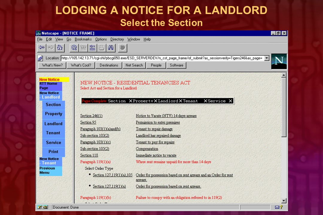 LODGING A NOTICE FOR A LANDLORD Select the Section