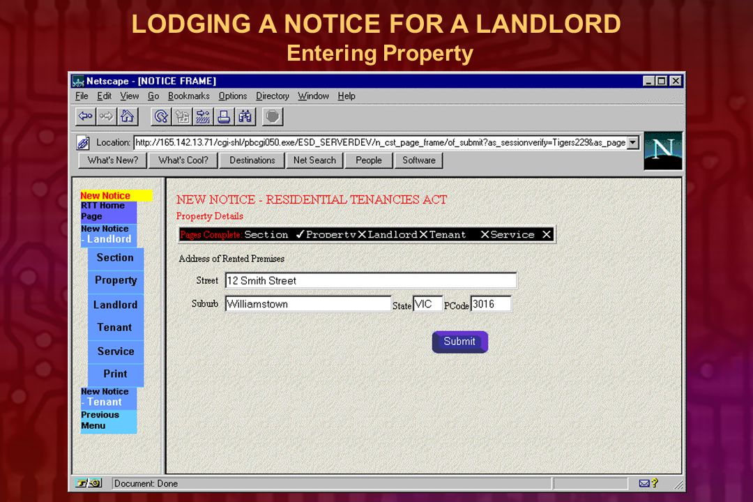 LODGING A NOTICE FOR A LANDLORD Entering Property