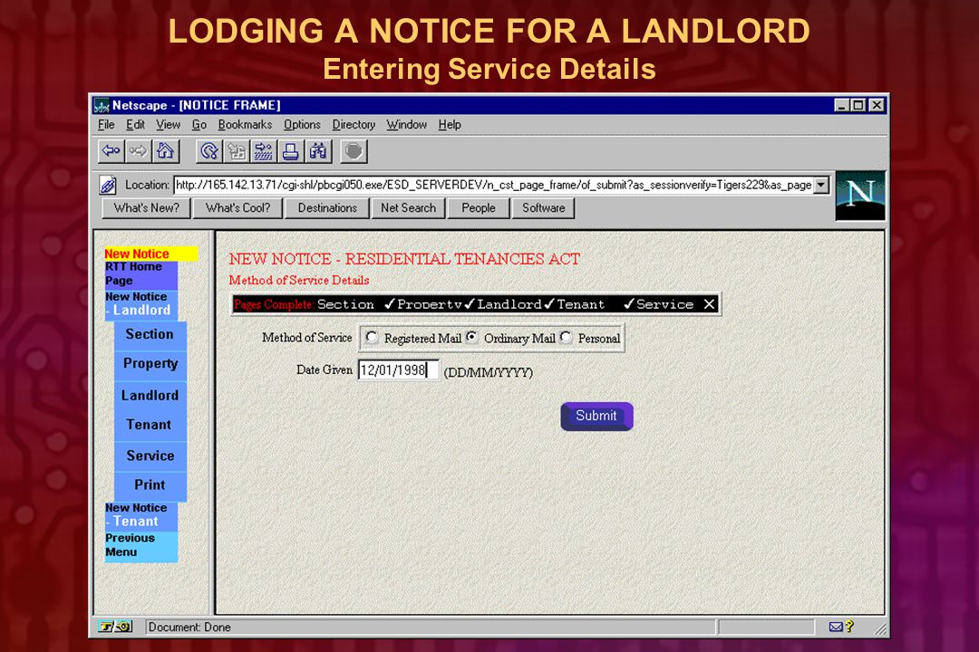 LODGING A NOTICE FOR A LANDLORD Entering Service Details
