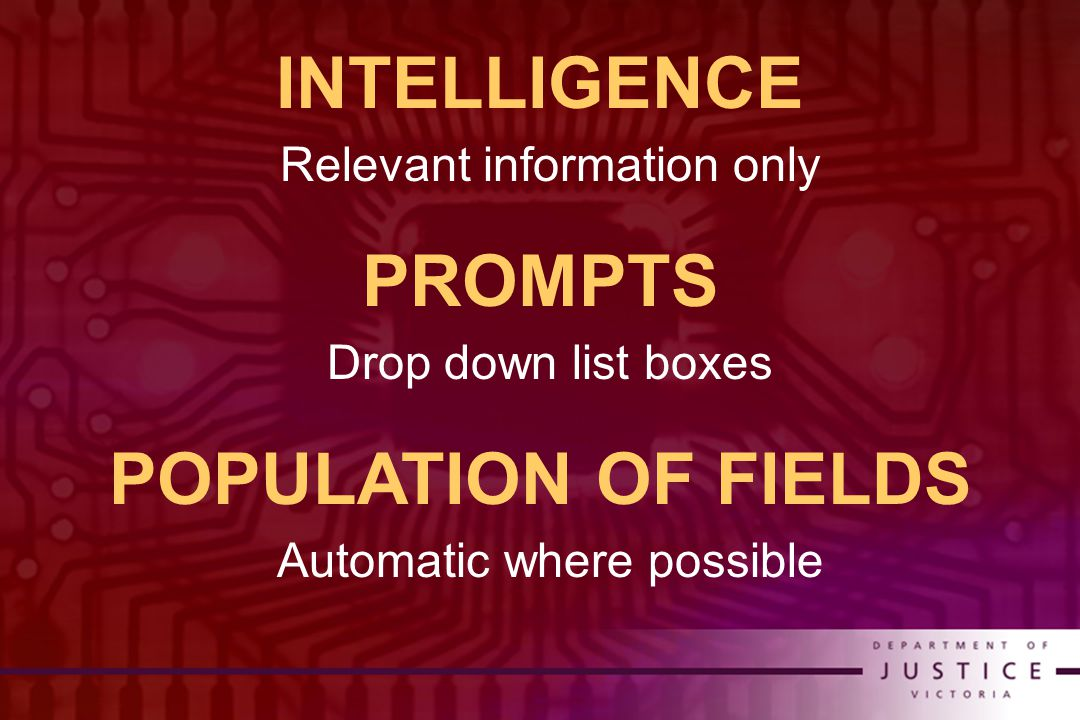 INTELLIGENCE Relevant information only PROMPTS Drop down list boxes POPULATION OF FIELDS Automatic where possible