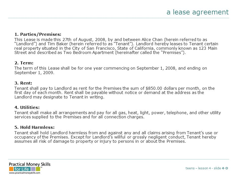 a lease agreement 1.