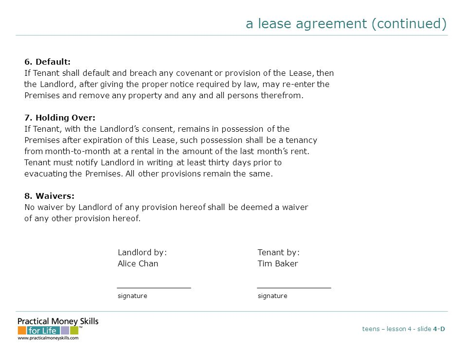 a lease agreement (continued) teens – lesson 4 - slide 4-D 6.