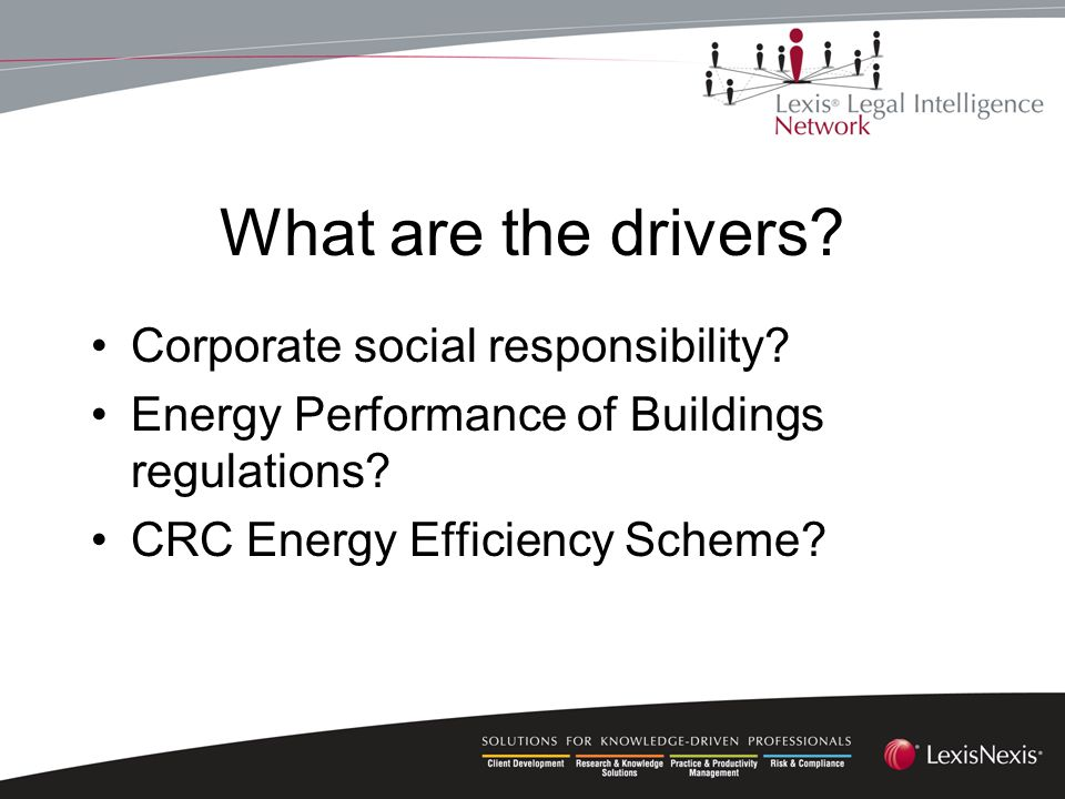What are the drivers. Corporate social responsibility.