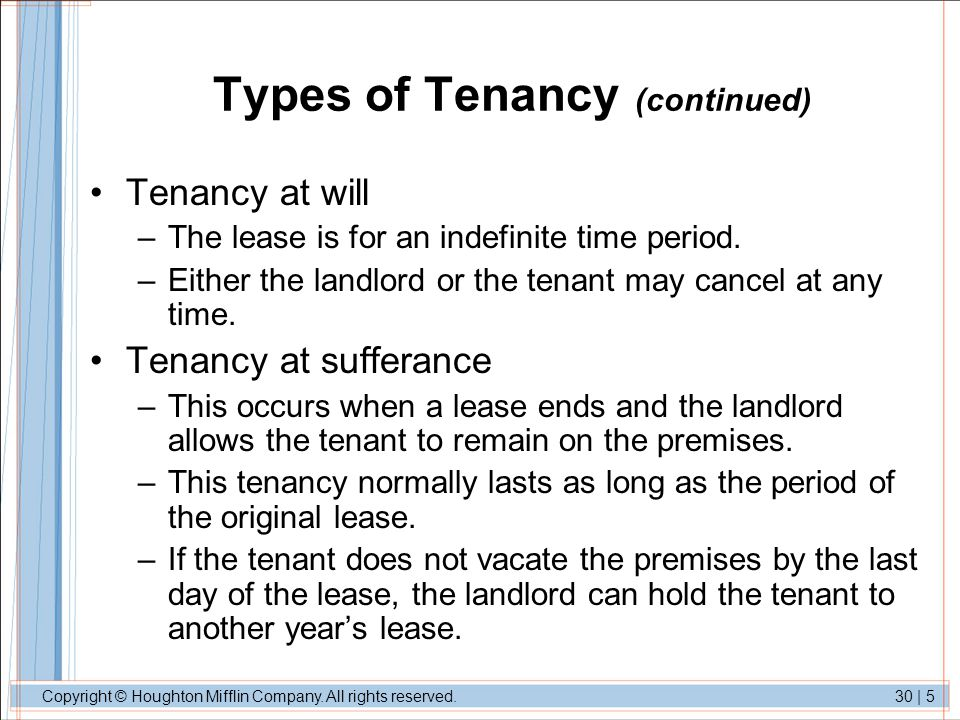 Copyright © Houghton Mifflin Company. All rights reserved.30   5 Types of Tenancy (continued) Tenancy at will –The lease is for an indefinite time per
