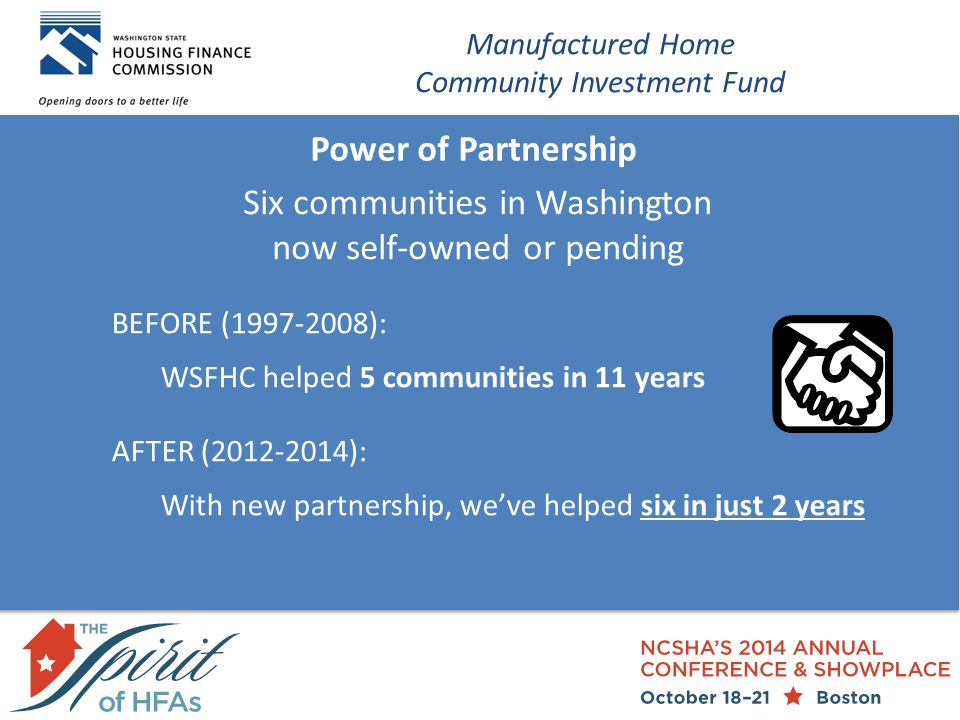 Power of Partnership Manufactured Home Community Investment Fund Six communities in Washington now self-owned or pending BEFORE (1997-2008): WSFHC helped 5 communities in 11 years AFTER (2012-2014): With new partnership, we've helped six in just 2 years