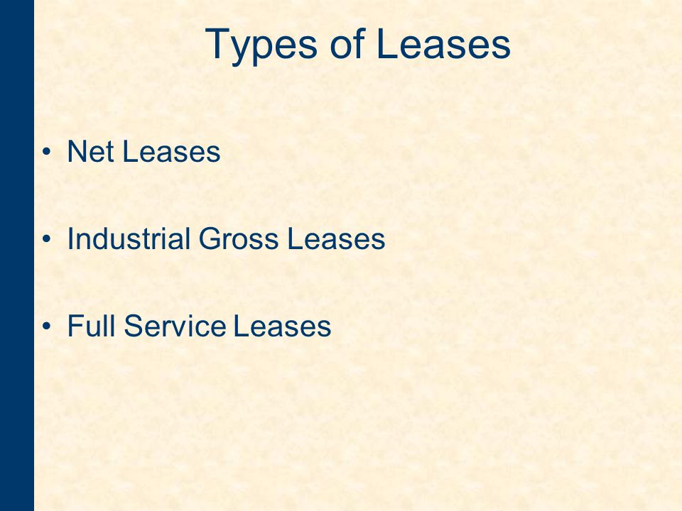 Important Definitions : Percentage of Sales –Used in retail leases –Landlord would receive a percent of the gross sales of the business after reaching an established dollar volume of business –Infrequently used in leases for smaller retail establishments