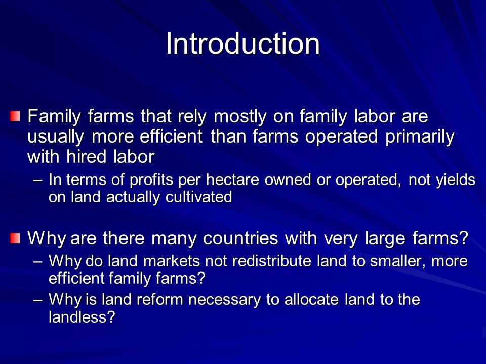 The Social Costs of Delayed Land Reform Static efficiency loss Poor of incentives to invest in physical and human capital Inability to absorb labor, provide employment Rent seeking to maintain the distortions in favor of large farms Revolts and civil wars