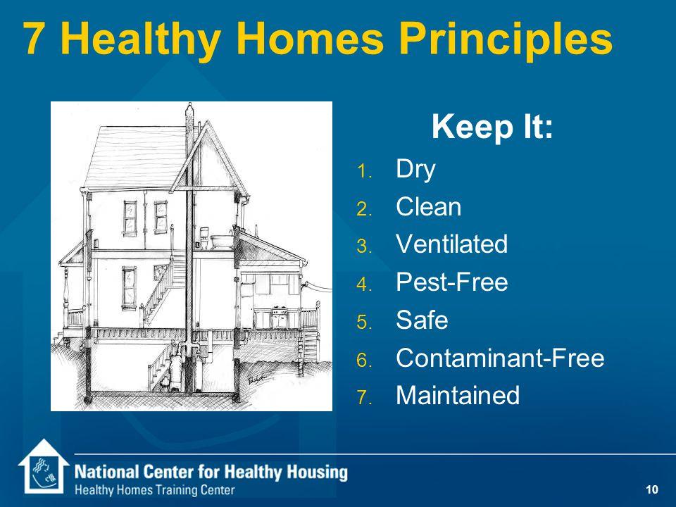 10 7 Healthy Homes Principles Keep It: 1. Dry 2. Clean 3.