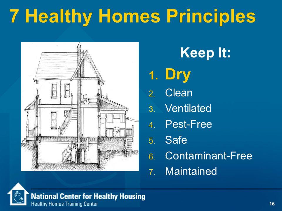 15 7 Healthy Homes Principles Keep It: 1. Dry 2. Clean 3.