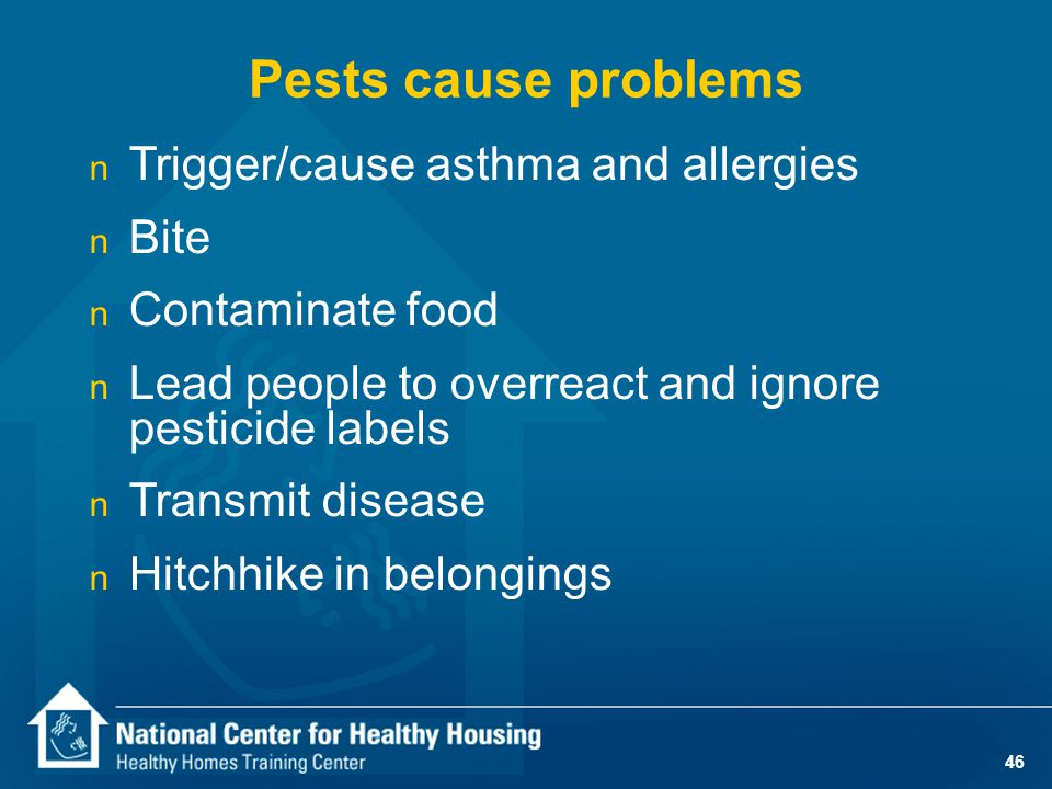 46 Pests cause problems n Trigger/cause asthma and allergies n Bite n Contaminate food n Lead people to overreact and ignore pesticide labels n Transm