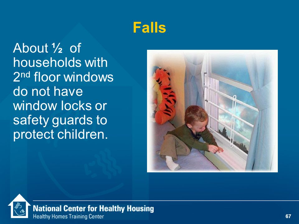 67 About ½ of households with 2 nd floor windows do not have window locks or safety guards to protect children. Falls