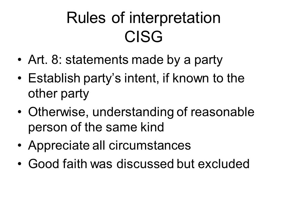 Rules of interpretation CISG Art.