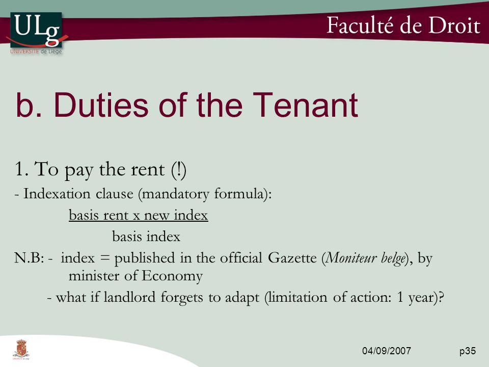 04/09/2007 p35 b. Duties of the Tenant 1.