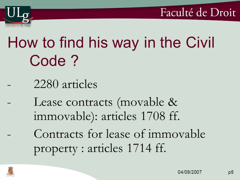 04/09/2007 p5 How to find his way in the Civil Code .