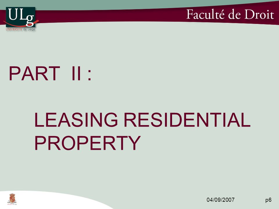 04/09/2007 p6 PART II : LEASING RESIDENTIAL PROPERTY