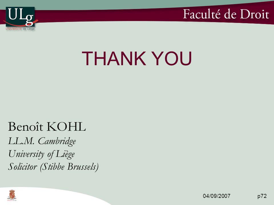 04/09/2007 p72 THANK YOU Benoît KOHL LL.M.